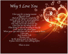 Personalised Why I Love You Poem Birthday Christmas Valentines Gift Present