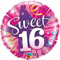 "ROUND SWEET 16 SHINING STAR FOIL BALLOON 18"" BIRTHDAY PARTY SUPPLIES"