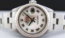 ROLEX - 26mm18kt White Gold & SS DateJust MOP Deco Roman Oyster 79174 SANT BLANC