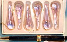 Tear Drop Shape Pink Iridescent XS Size Glass Ornament 6 pcs
