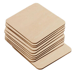 10PC Square Wooden Blank Coasters Wood Craft Blanks Pieces Plaque DIY Unfinished