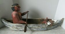 Canada Contemporary Large Folk Art Wooden Carving First Nations Canoe Fur Pelts
