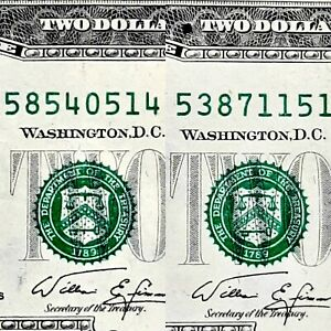 1976 $2 LOT OF 2 SHIFT ERROR SEALS & SERIAL NUMBERS SHIFT DOWN