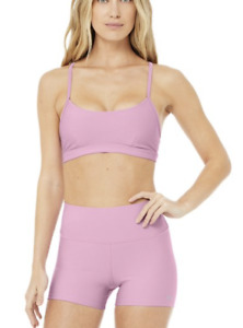 Alo Yoga set AIRLIFT INTRIGUE BRA & HIGH-WAIST SHORT Pink Lavender NEW Small <--