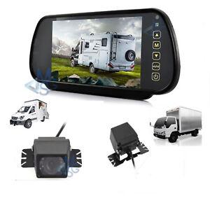 """Kit Retromarcia Specchietto 7"""" LCD Retrocamera Posteriore LED IR per Auto Camper"""