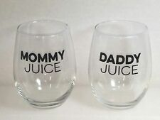 Stemless Wine Glasses Daddy Juice Mommy Juice Pair 21 oz.