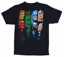 Men's Original Marvel Comics Heroes Black Tee Size M 100% Cotton T-Shirt