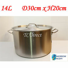 14L 30cm Commercial Stainless Steel Stock Pot Saucepan with Lid (D300xH200)