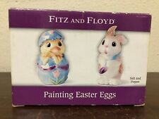 Fitz & Floyd Painting Easter Eggs Sat & Pepper Shaker Bunny Chick Nib