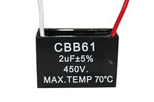 2PCS CBB61 Terminal Ceiling Fan Motor Running Rectangle Capacitor 450V 2UF