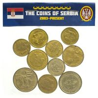 SERBIAN 10 COINS FROM SERBIA DINAR DINARA LOT OLD CURRENCY 2003-PRESENT