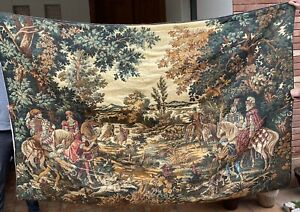 Huge Antique French Tapestry Wall Hanging Aubusson Style 138 By 206 Cm