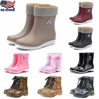 Fashion Women's Rain Boots Rubber PVC Waterproof Lace Up Mid Calf Boots Shoes US