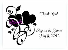 100 Personalized Custom Heart Swirl Bridal Wedding Thank You Cards