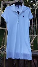 Women's Ralph Lauren Polo Shirt Dress White with Purple Polo Pony SIZE L