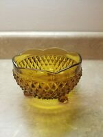 "Indiana Glass Amber Diamond Point 3 Footed Candy Dish Bowl 3"" tall x 5"" Wide"