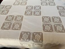 "VTG Ecru color Hand made Lace Square Block Tablecloth 64"" x 85"""
