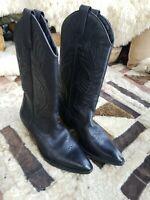 Circle S Black Leather Cowboy Western Jesse Boots Sz 8.5M
