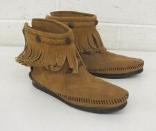 Minnetonka Moccasin Brown Suede Leather Rear Zip Flats US Women's 7 EXCELLENT