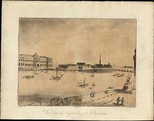 St Petersburg Russia 1810 English Quay waterfront antique aquatint old print