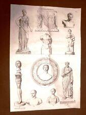 Incisione 1811 Antinous e altri Musée des Antiques Scultura classica Bouillon