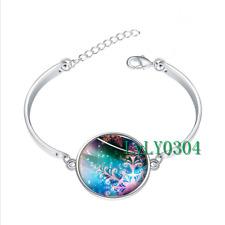 Snowflake Christmas glass cabochon Tibet silver bangle bracelets wholesale