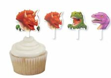 12 Dino Blast Cupcake Toppers 3 Designs Cake Decoration Dinosaurs Party Plastic