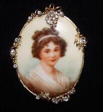 VINTAGE Lady Portrait on PORCELAIN diamond Pin/Pendant 14K gold