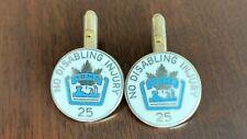 Hudson Bay Mining Smelting Sterling Silver Enamel Cufflinks Flin Flon