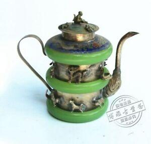 CHINESE OLD JADE TIBET-SILVER TEA POT MONKEY lid