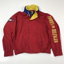 Vintage 90s Tommy Hilfiger Sz Large Windbreaker Jacket Spell Out Big Flag Hooded