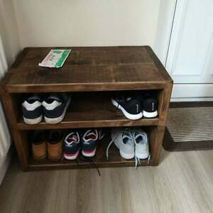Rustic Shoe Rack with Bench- Hallway Wooden Bench Seat with Storage