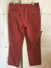 J Crew Beach Fade Mens 34x30 Marlin Embroidered Critter Pants coral red
