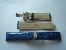 YEMA - 1 bracelet montre cuir bleu boucle chromée déployante - 23mm