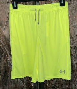 UNDERARMOUR NWT 1333604 Neon Green UA Prototype Wordmark Shorts Boys sz XL YXL