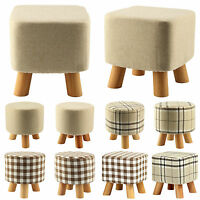 Fashion Wooden Leg Footstool Ottoman Round Pouffe 9 Different Style Washable UK