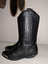 VINTAGE ZODIAC CUTTER LADIES BLACK LEATHER FLAT COWBOY BOOTS 6.5 M WOVEN WESTERN
