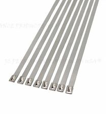 """10 Extra Wide 18"""" Ss Stainless Steel Cable Ties Wire Strap Zip Clamps Rust-Proof"""