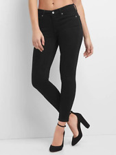 NWT women's GAP Mid Rise EverBlack True Skinny Jeans Black size 25/0 Regular NEW