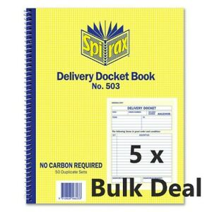 5 x Spirax 503 Delivery Docket Book 50/Dup 250x200mm 1/View 56503 in stock
