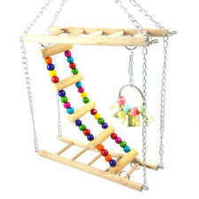 Parrot Ladder Pet Bird Wooden Playground Climbing Swing Chew Budgie Cage Toys