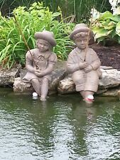 Fishing Boy & Girl Cast Stone Statues-sculptures-pondgarden decor-Large statuary