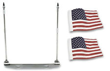 Rivco License Plate Mounted Double Flag Holder With Two USA Flags (FH100)