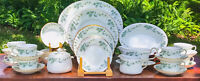 Minton Bone China GREENWICH #S705 54Pc Service for 8 Green Ivy Gold Trim MINT