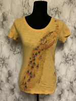 Lucky Brand Size S Yellow Peacock Theme Studded Short Sleeve T-Shirt