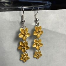 Hawaiian Gold Color Cz Triple Plumeria Flower Earring French Hook Hawaii Jewelry