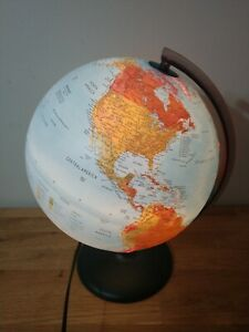 Vintage Tecnodidattica Lighted Desk Top Globe Raised Relief Topography