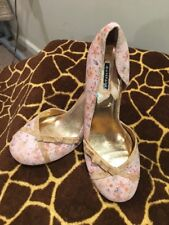 Rampage FeFe Soft Floral Over Snake Skin Print W/Bows . Size 8.5 Pink/Tan Trim
