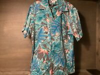 Hilo Hattie Mens SIZE 2X  Short Sleeve Button-Front Blue Floral Hawaiian Shirt