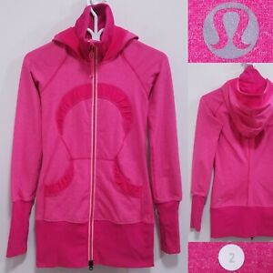 Lululemon Pink Ruffle Zipper Hoodie Size 2 XXS Jacket Sweater 2 Tone Double Zip